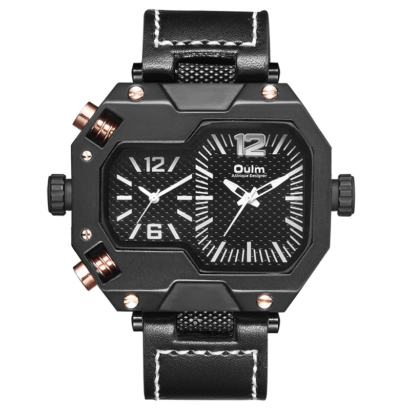 Top Brand Oulm <font><b>Watches</b></font> Fashion Design Men <font><b>Watches</b></font> Two Time Zone Casual Genuine Leather Quartz <font><b>Watch</b></font> Man <font><b>Watch</b></font> relogio masculino image