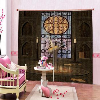 High quality custom 3d curtain fabric Glass flower Curtains Decoration European 3D Curtains For Living room Blackout