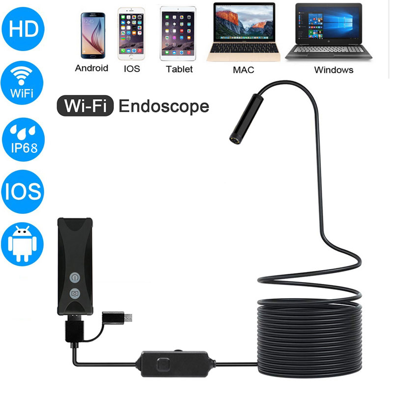 WIFI Endoscope Camera HD 1200P 1-10M Mini Waterproof Hard Wire Wireless 8mm 6 LED Borescope Camera For Android PC IOS Endoscope
