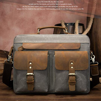 Men's Bag  for Men Briefcases  Leather/Canvas Business Office Bags  Laptop Bag Leather Briefcases Male document Briefcase
