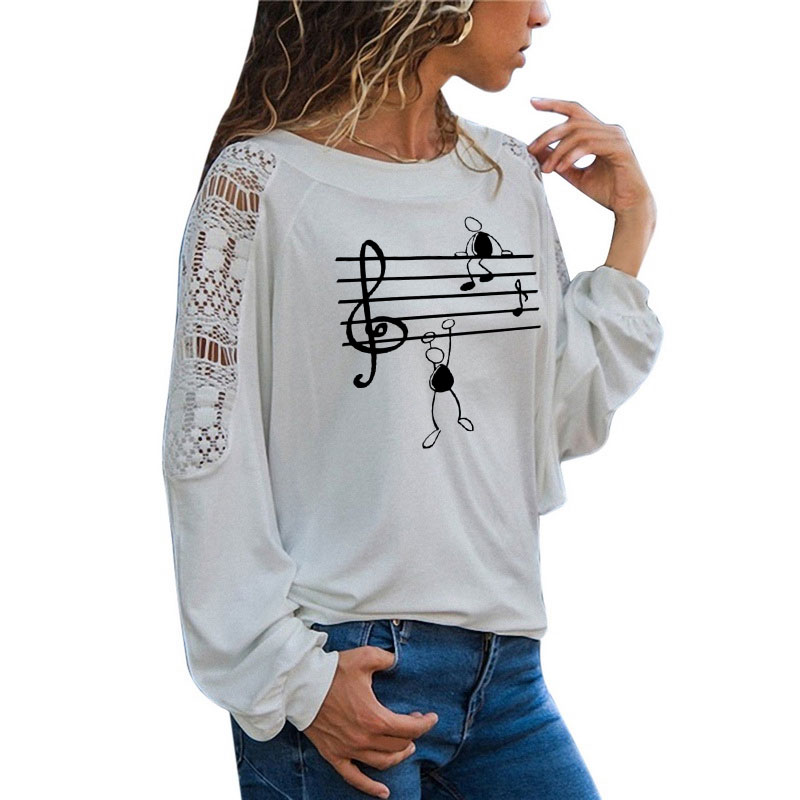 Music Notes Funny Printed T Shirt Women Autumn Animal Long Sleeve Tshirts Harajuku T-Shirt Girl Casual Large Size Loose Lace Top