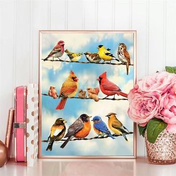 HUACAN 5D Diamond Painting Full Drill Square Animal Diamond Art Cross Stitch Embroidery Bird Home