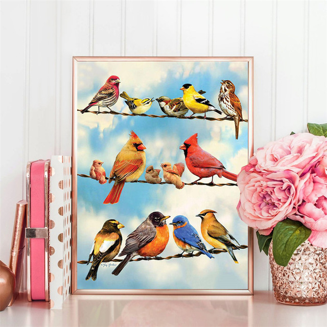HUACAN 5D Diamond Painting Full Drill Square Animal Diamond Art Cross Stitch Embroidery Bird Home Decor