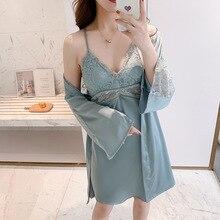 Silk Sleepwear Women Robe Gown-Sets Dress-Gown Satin Bridesmaid Sexy FZSLCYIYI Summer