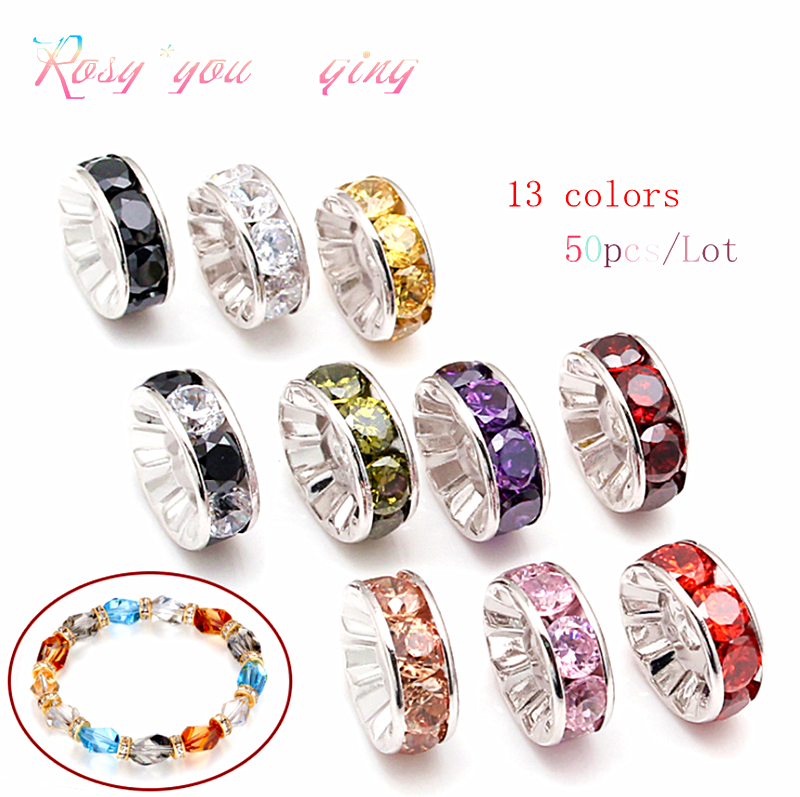 50pcs 8mm Rhinestone Rondelles Loose Spacer Beads Metal Crystal Beads for Jewelry Making DIY Accessories(China)