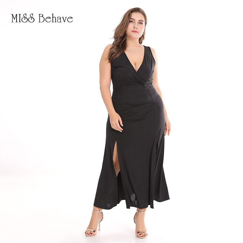 2019 Europe And America Large Size Dress New Style Solid Color Knit Sleeveless Slit Sexy Dress
