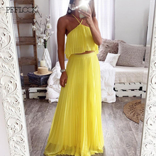 PFFLOOK Summer Chiffon Sexy Women Dress Backless Sleeveless Retro Maxi Dress Elegant Holiday Party Long Dresses Vestidos Green