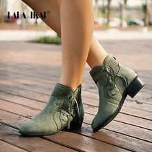 Lala Ikai Nữ Thu Đông Cổ Chân Giày Buộc Dây Rỗng Giày Chống Nước Da PU Nữ Dây Kéo Tua Rua Giày Chelsea Boot WC4747 4