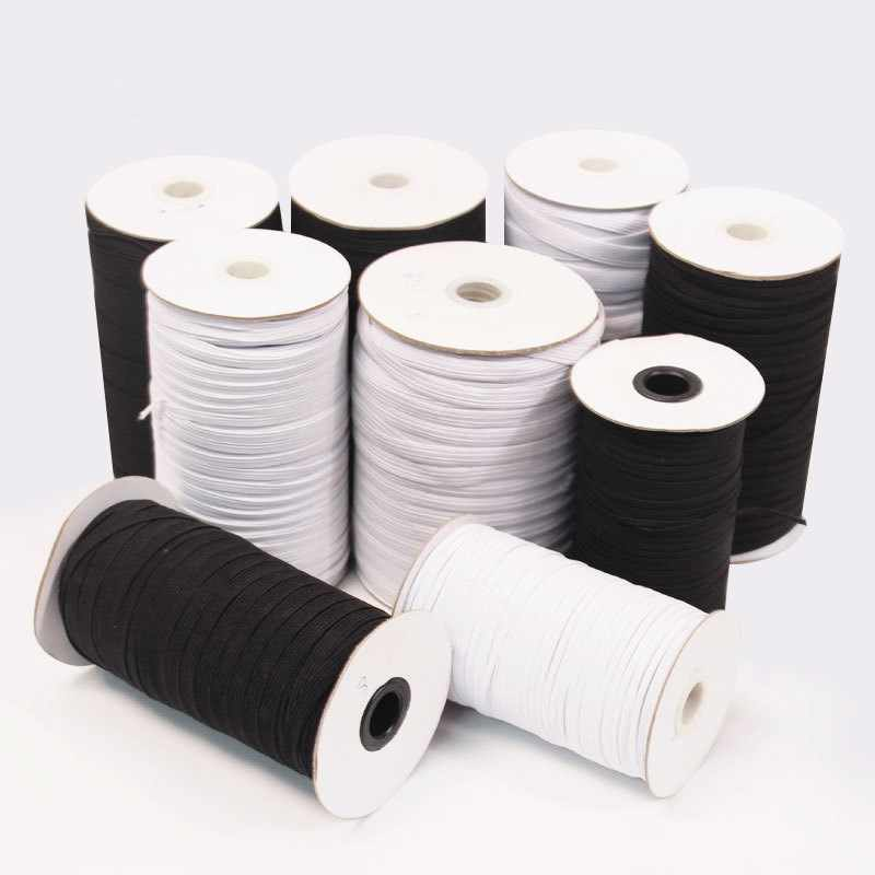¡Venta al por mayor! 5/10M bandas elásticas blancas y negras cuerda elástica para máscaras cinta elástica para prendas de vestir accesorios de costura DIY Multi tamaño 5z