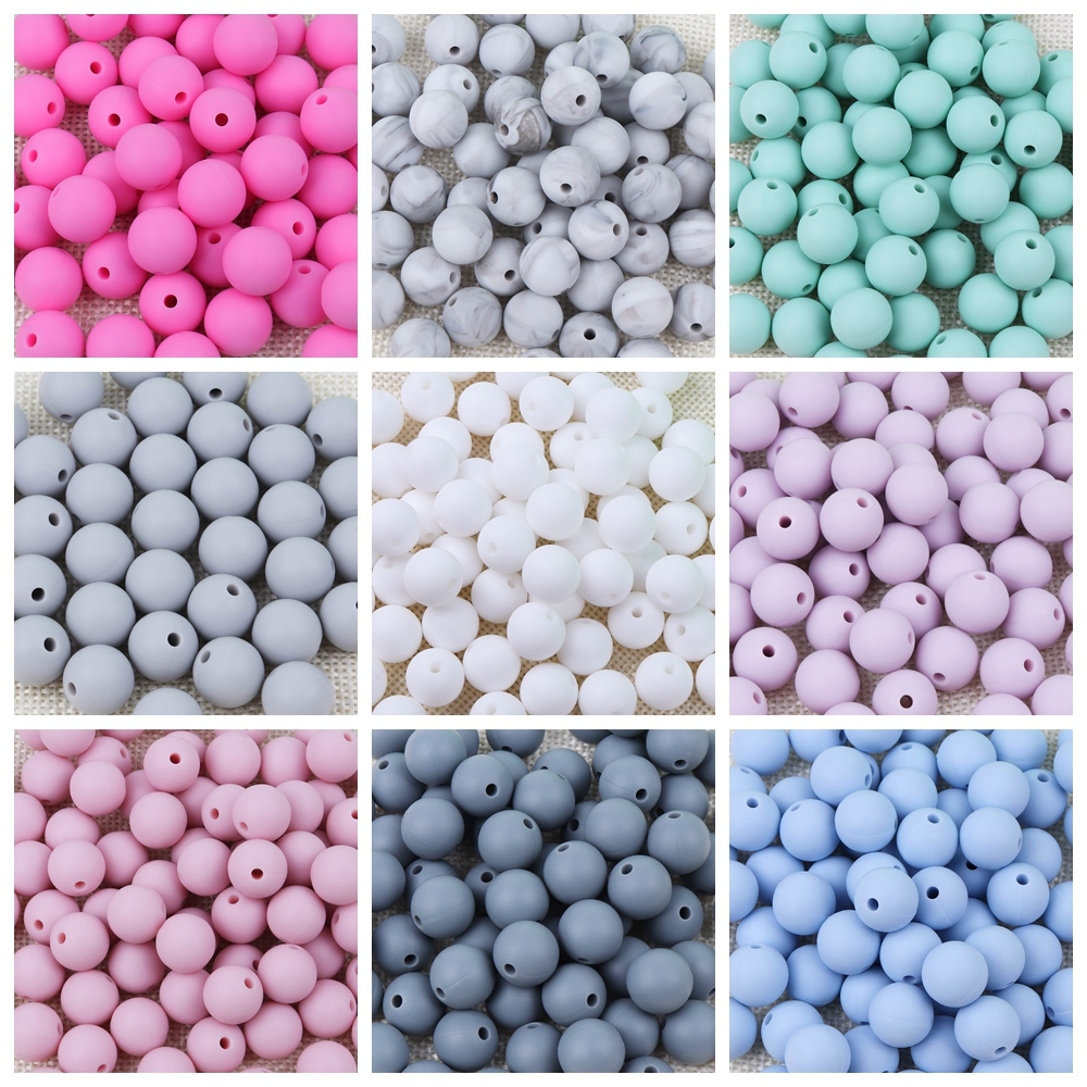 TYRY.HU Silicone Beads 100Pcs BPA Free 9/12/15/19mm Silicone Teething Round Beads For Necklace Pacifier Chain Baby Teether Beads