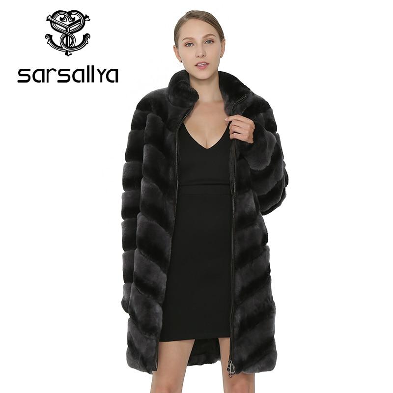 SARSALLYA Women Natural Rex Rabbit Fur Coat Winter Thick Warm Real Fur Coat Rabbit Female Clothes Genuine Rabbit Fur Vest Jacket