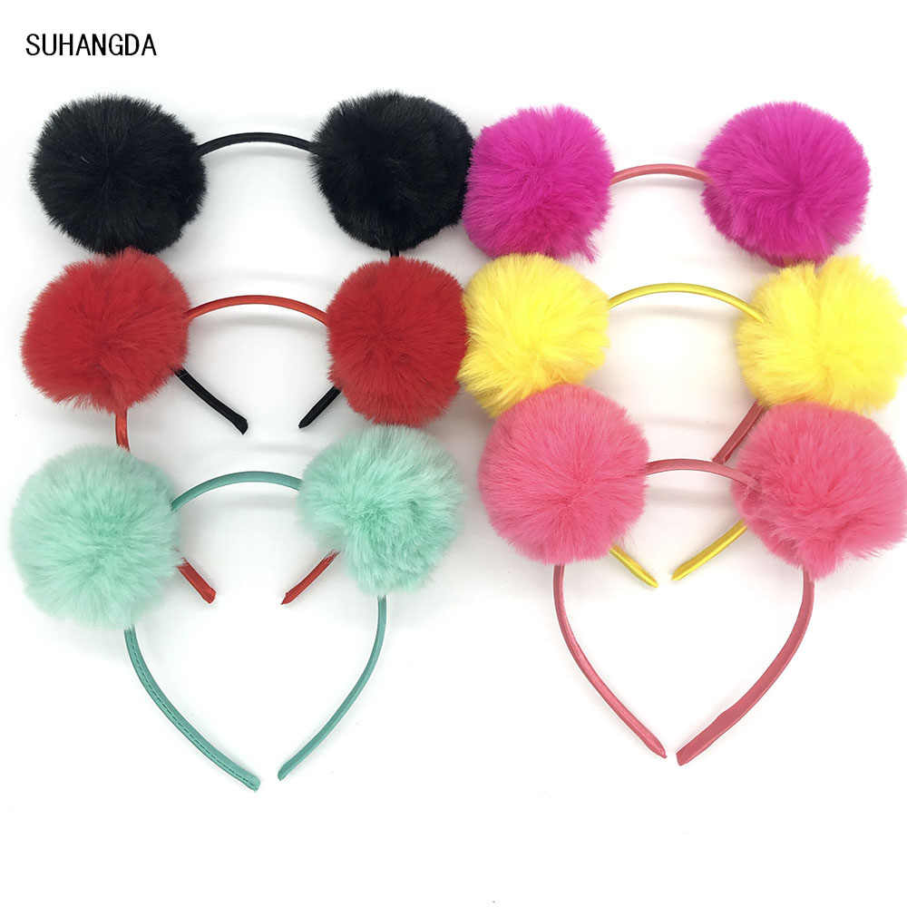 Cute Solid color Panda Ears Hair Hoop Dual Big Bright Colorful Fluffy Pompom Ball Girls Headband Hair Band Hair Band Cat Ears