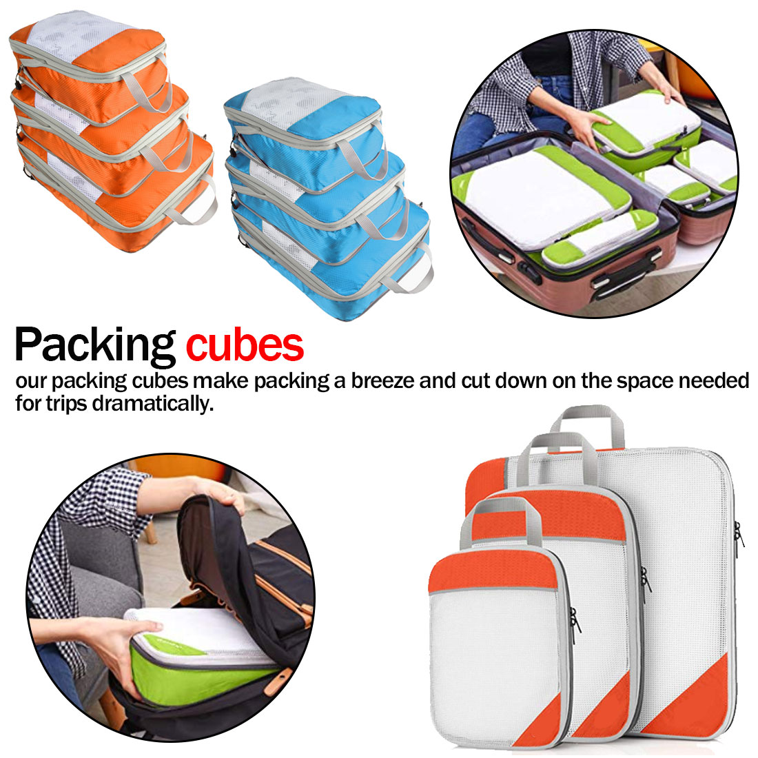 Travel Totes Packing Cubes Nylon Breathable Solid Color Travel Luggage Foldable Organizer Compressible Storage Bag