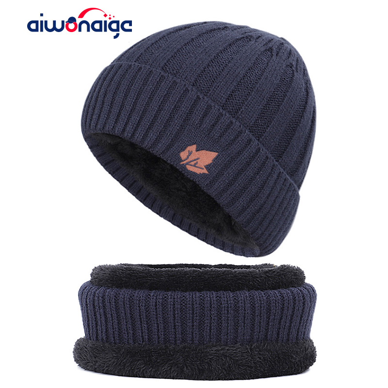 2019 New Maple Leaf Knit Hat Bib Men And Women Outdoor Warm Casual Hat Men's Winter Hat Thickening Velvet Casual Men's Hat Peas