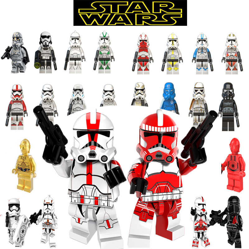 Hot Star Wars Blocchi Legoing Starwars Figure Imperial Stormtrooper C-3PO Rey Finn Poe Dameron Building Blocks Giocattoli Dei Mattoni