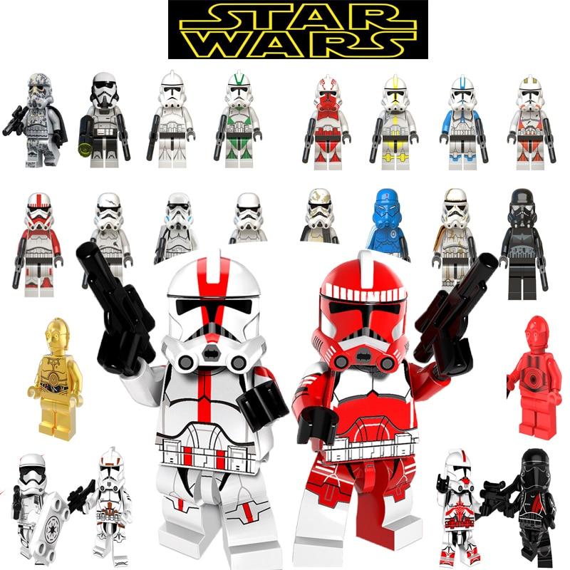 HOT Star Wars Blocks Legoing Starwars Figures Imperial Stormtrooper C-3PO Rey Finn Poe Dameron Building Blocks Bricks Toys