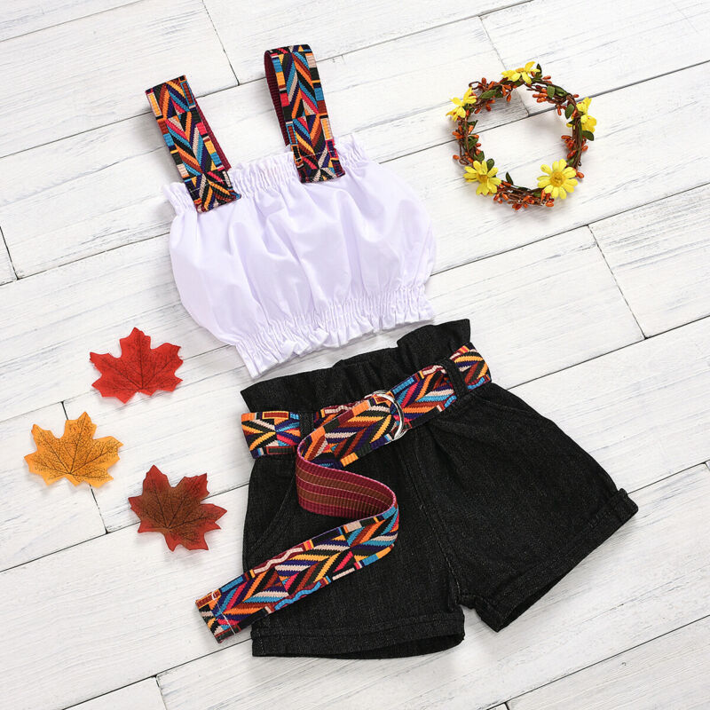 2020 Kids Toddler Baby Girl ummer outfit Spaghetti Strap White Crop Tops Vest Black Belt Shorts Jeans Pants  Fashion 2PCS Set 2