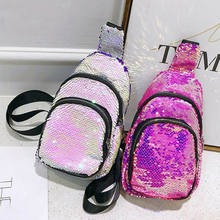 Women Sequins Sling Bag Chest Pack Crossbody Daypacks Travel Phone Pouch Purse(China)