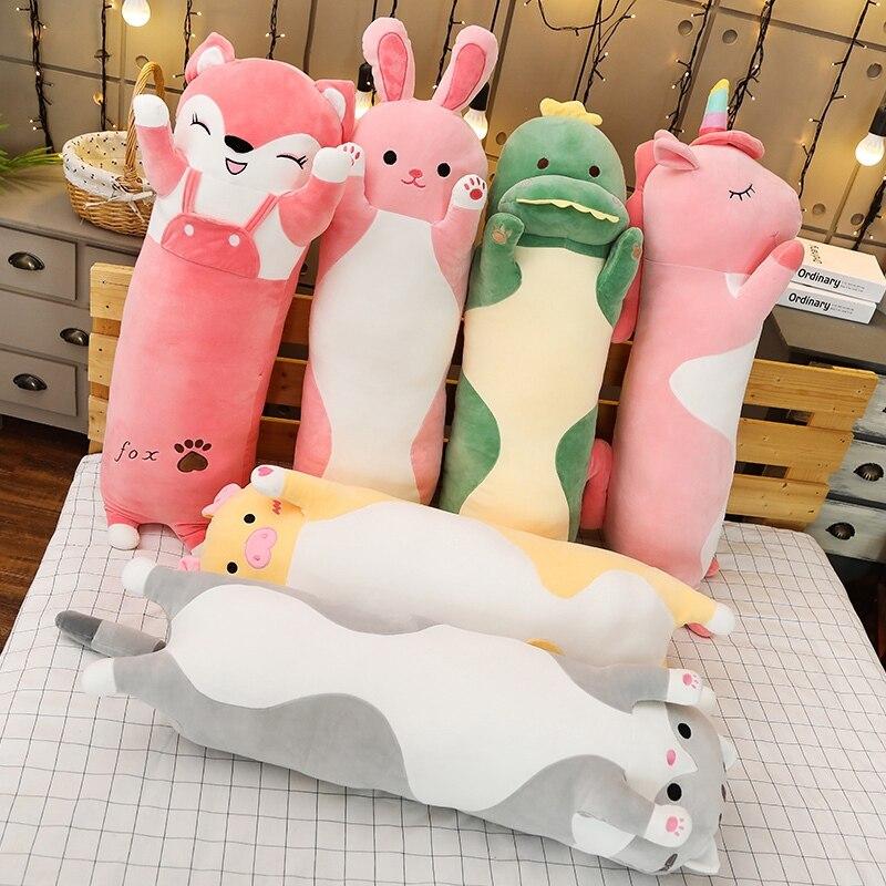 Мультяшная плюшевая игрушка с длинными животными, мягкие игрушки для спящего друга, кошка, кролик, свинья, лиса, динозавр, единорог, кукла, Рождественский подарок 70/90/120 см|Мягкие игрушки животные|   | АлиЭкспресс