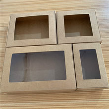24pcs Multi size Paper Soap Box Kraft paper gift box package with clear pvc window candy favors arts&krafts display Kraft box