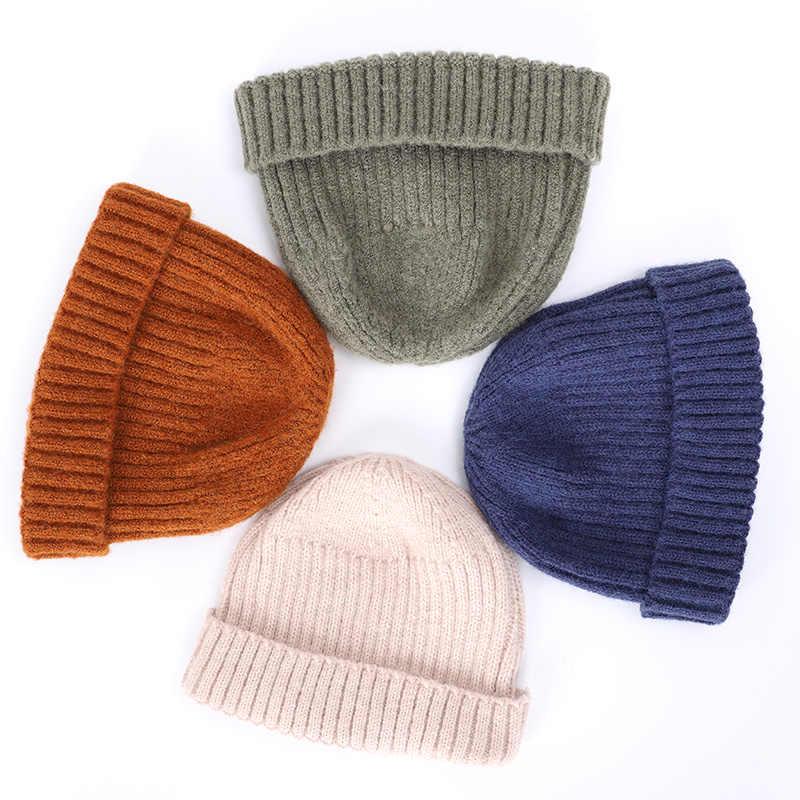 2019 novo inverno de alta qualidade lã brimless chapéus hip hop gorro skullcap rua malha chapéu unisex melão boné homem quente marinheiro
