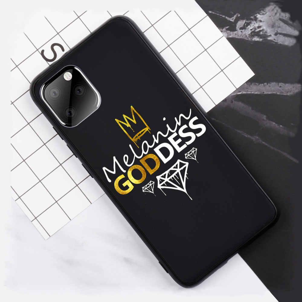 アフロ黒少女魔法女王メラニンポッピン電話ケース iphone 11 プロマックス XS 最大 XR × 5 5S 6 6S 8 7 Tpu シリコンカバー