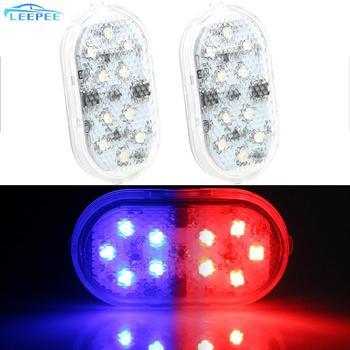 2 sztuk samochodów otwarcie światło ostrzegawcze drzwi bezprzewodowa magnetyczna lampka sygnalizacyjna lampa parkingowa 10 LEDs bezpieczeństwa światła antykolizyjne tanie i dobre opinie Światło na powitanie CN (pochodzenie) NONE 24308 10pcs Red Blue 3V CR2032 Button Battery USB Rechargeable