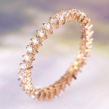 Fashion Exquisite Rose Gold Cute Round Zircon Rings for Bridal Wedding Rings Engagement Jewelry Anniversary Valentine's Day Gift