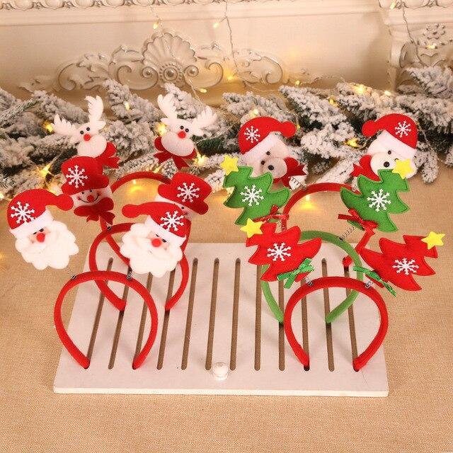 1 Set Christmas Headband Dear Sant Snowman Deer Antler Hair Band Christmas Antlers Horns Headband Festival Parties Accessories