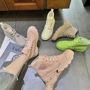 Image 2 - Zapatos planos SWYIVY con botas Martin, zapatos de plataforma para mujer, nuevos botines de mujer de lona de otoño 2019, zapatos femeninos transpirables sólidos