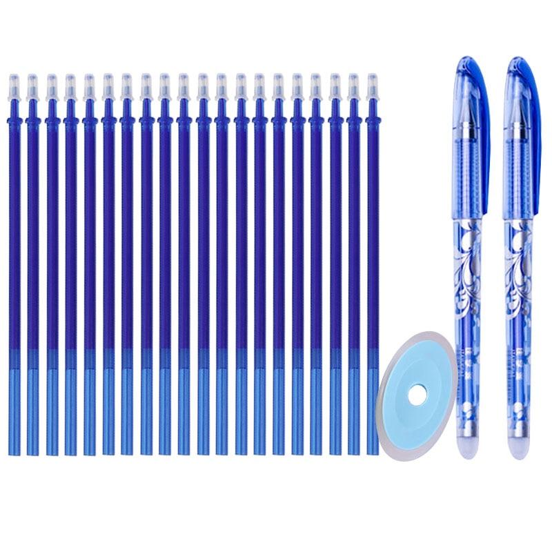 23 개/대 지울 수있는 젤 펜 보충 물 막대 0.5mm 파란 까만 잉크 빨 수있는 손잡이 학교 사무실 문구를위한 마술 지울 수있는 펜