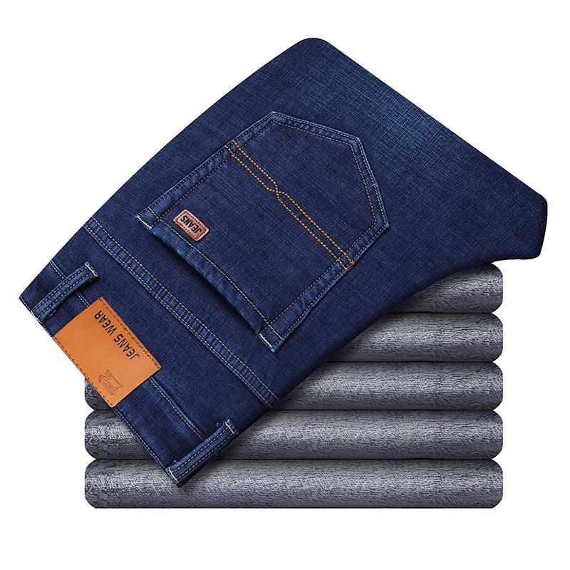 Зимние теплые фланелевые Стрейчевые джинсы для мужчин s, зимние качественные мужские флисовые штаны от известного бренда, прямые флокированные брюки, мужские джинсы - Цвет: Blue 1815