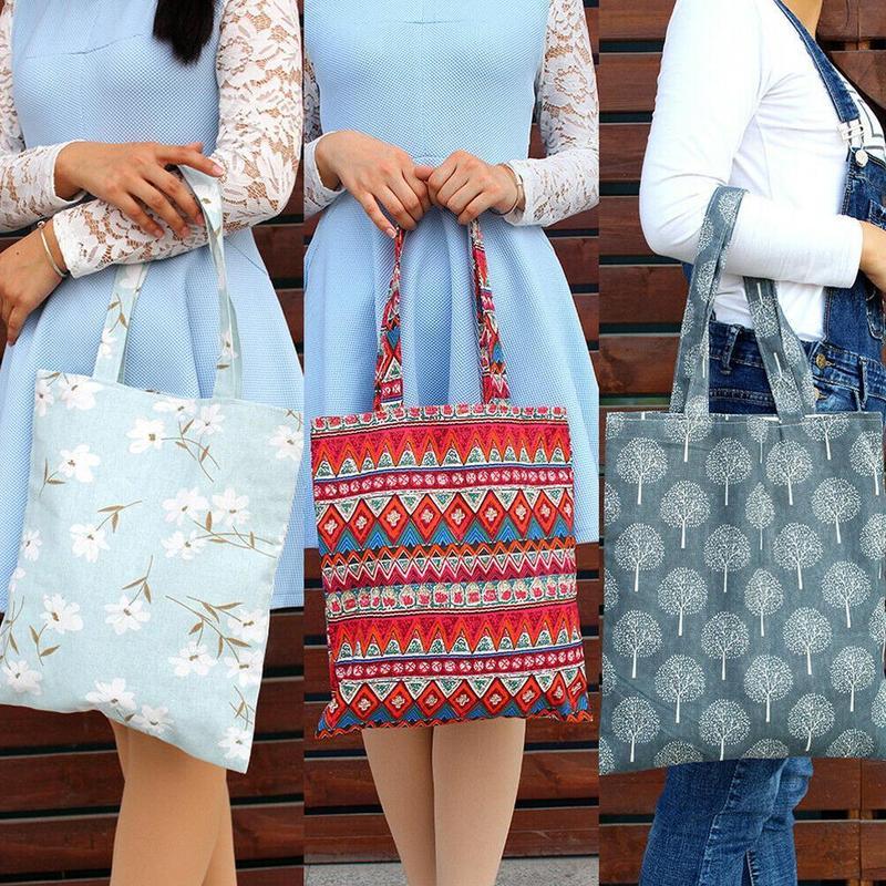 Women Tote Handbag For Shopping Fashion Plaid Shoulder Large Capacity Student Cotton Linen Canvas Shopping Bags