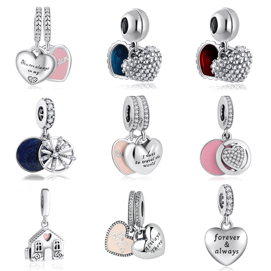 S925 Silver Pendant My Beautiful Wife Travel Wishes Mother Son Daughter Home Love Dangle Charm fit Pandora Bracelets title=