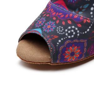 Image 5 - Female Salsa Jazz Ballroom Latin Dance Shoes For Dancing Women Standard Ladies Tango Dances Heel Flowers 1018 Boots