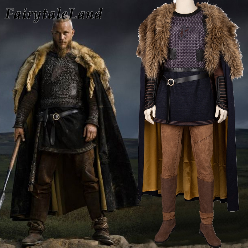TV Vikings Cosplay Outfit Ragnar Lothbrok Costume Carnival Masquerade Cape Custom Made Shoes Ragnar Cosplay Suit Coat Cloak