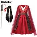 Новогодний костюм для Хэллоуина, мулань, летнее платье мулань, вечерние платья с рукавами из тюля для девочек на день рождения