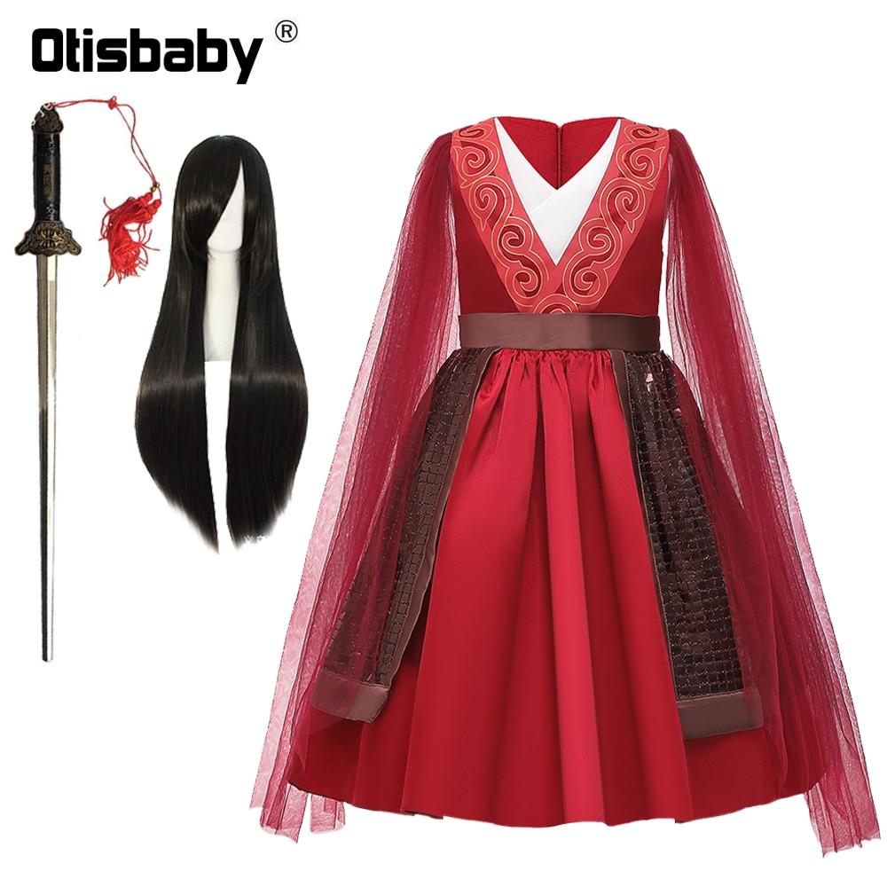 De Halloween Navidad Mulan traje de verano niño vestido de Mulan de la fiesta de cumpleaños de tul rojo manga vestidos para niñas Kung Fu espada