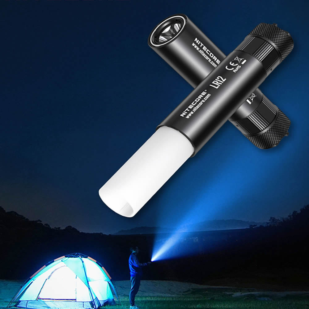 Image 2 - Top Sales Nitecore LR12 Handheld 2in1 Lantern Flashlight CREE XP L HD V6 LED 1000LMs Without 18650 Battery outdoor Camping TORCH-in LED Flashlights from Lights & Lighting