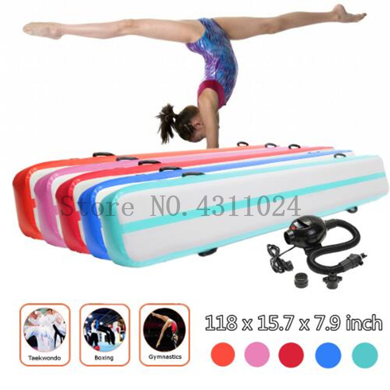 Gymnastics AirTrack Tumbling Mat 4x0.3x0.2m Air Track Floor Mats Air Balance Beam Inflatable Practice Training Mat with Pump