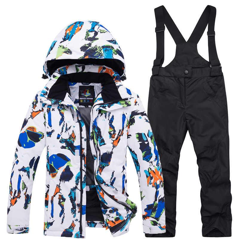 Kış çocuk kayak takım elbise kız su geçirmez kapşonlu açık Snowboard ceket çocuk tulumları kayak seti sıcak kar pantolon kayak rüzgar geçirmez