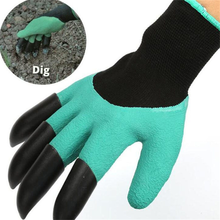 5Pairs free shipping Garden genie Gloves with 4 ABS Plastic Claws Gardening work Gloves for Digging Planting glove wholesale(China)