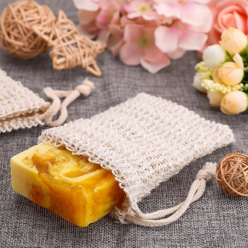 10 Pack Sisal Soap Bag Natural Soft Exfoliating Mesh Soap Bar Pouch Saver Holder Q0KD