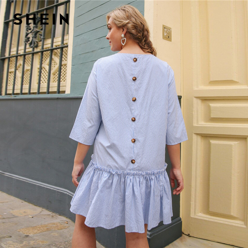 SHEIN Plus Size Blue Button Back Ruffle Hem Striped Dress Women Summer Spring Drop Waist Cute Smock Loose Short Dresses 1