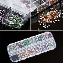 2000 штук 12 цветов блестящие дизайн ногтей Стразы плоская задняя