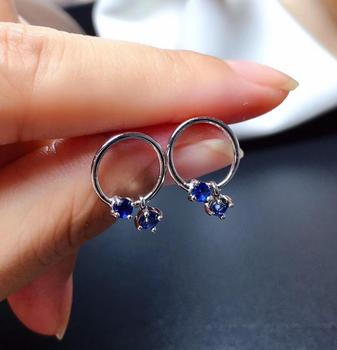 Fashion Elegant round circle natural Sri Lanka  sapphire stud earrings Natural gemstone earrings S925 silver women party jewelry