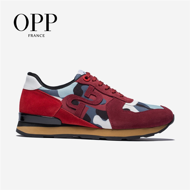 OPP Men's Shoes Fashion  Red Camouflage Military Style Sneakers Genuine Leather Large Size Lace-up Casual Shoes