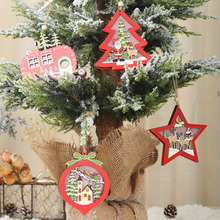 Hot Sale Wooden Hanging Decoration Hollow Ornament Pendant with Light for Christmas Tree Home