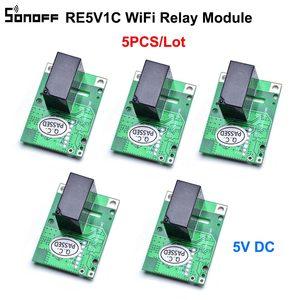 Image 1 - 5 adet SONOFF RE5V1C Wifi DIY anahtarı 5V DC röle modülü akıllı kablosuz anahtarları Inching/kendinden kilitleme mod APP/ses uzaktan açma/kapama