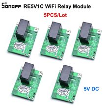 5 sztuk SONOFF RE5V1C Wifi przełącznik DIY 5V DC moduł przekaźnika inteligentna bezprzewodowa przełączniki Inching/samoblokujący tryby APP/sterowanie głosem ON/OFF